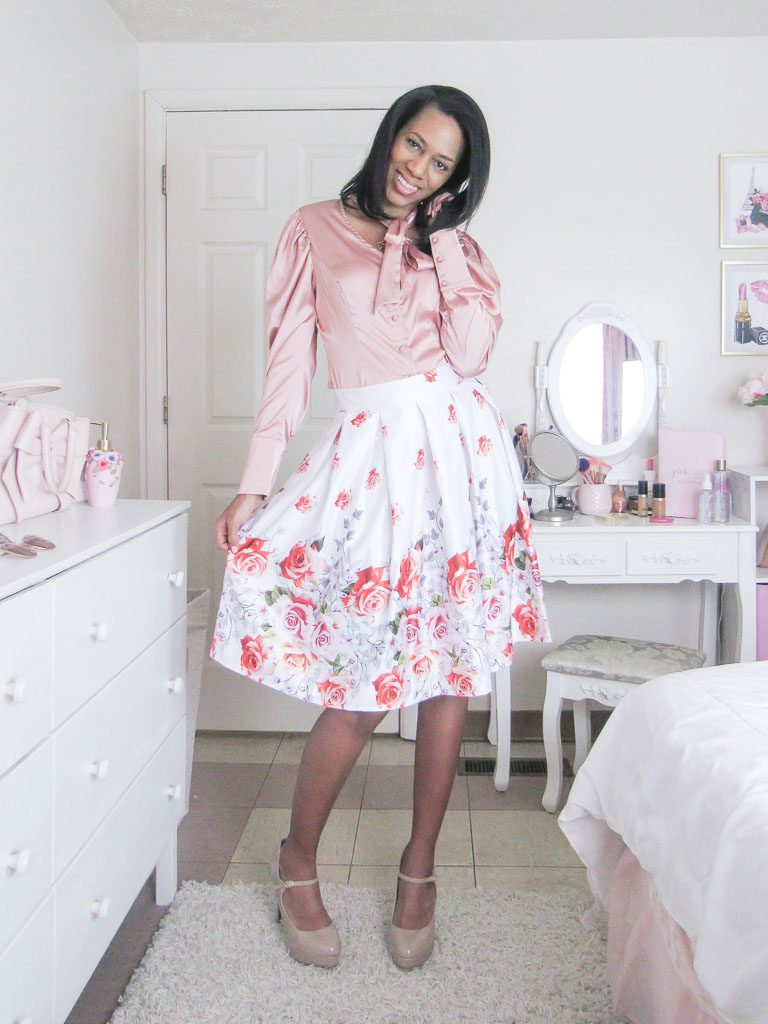 Rose Skirt Valentines Day Outfit Idea
