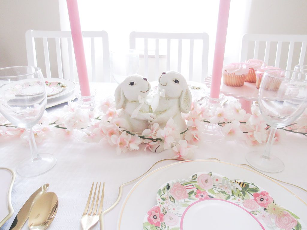 pink and white Easter table setting