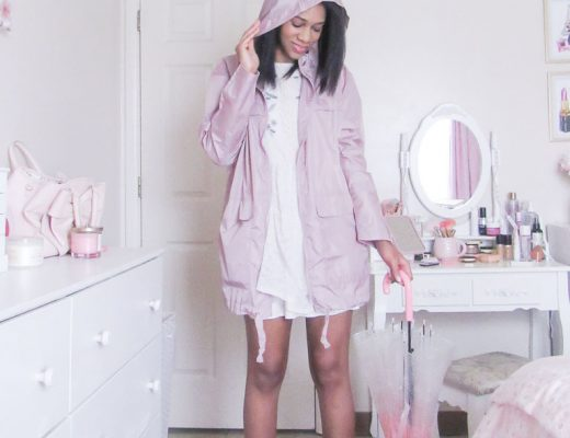 women wearing pink rain gear in a white bedroom