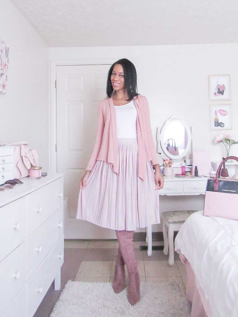 pink feminine winter outfit