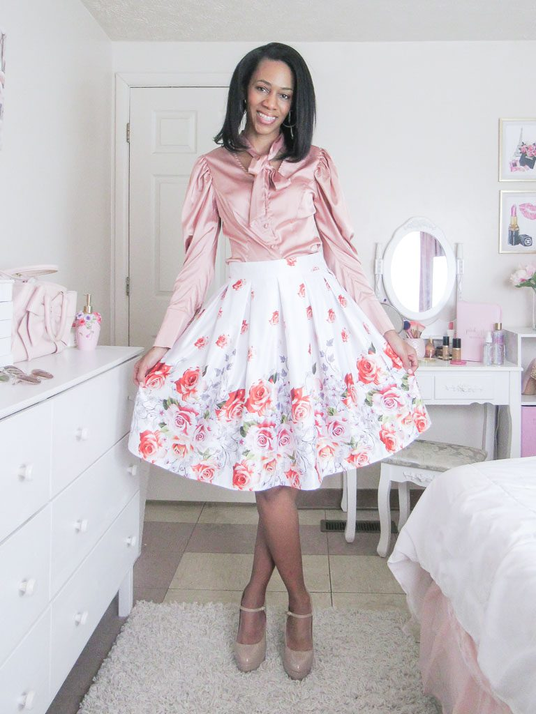 Rose Printed Skirt with Pink Blouse