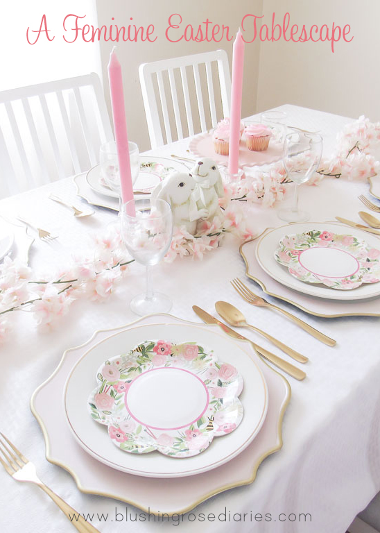 A feminine Easter Tablescape