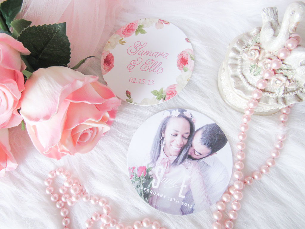 Custom wedding coasters by basic invite