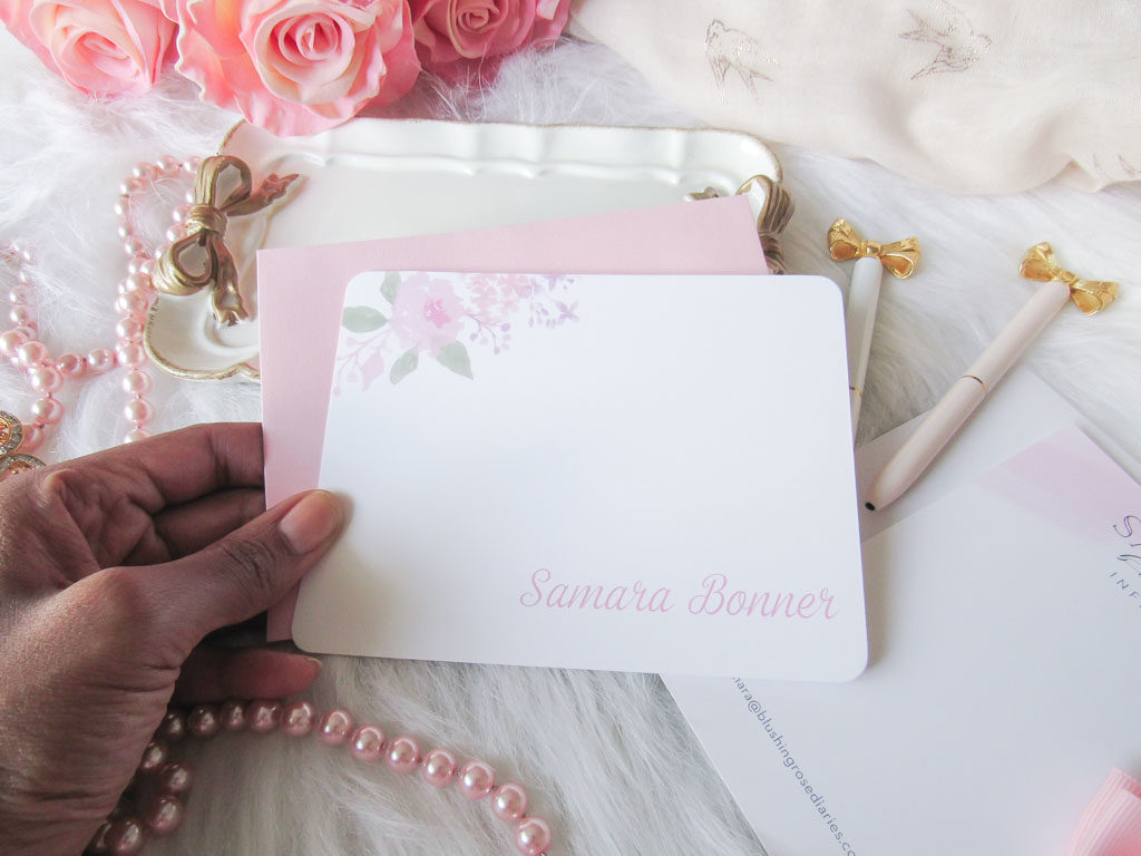 Feminine Stationery with water color floral design