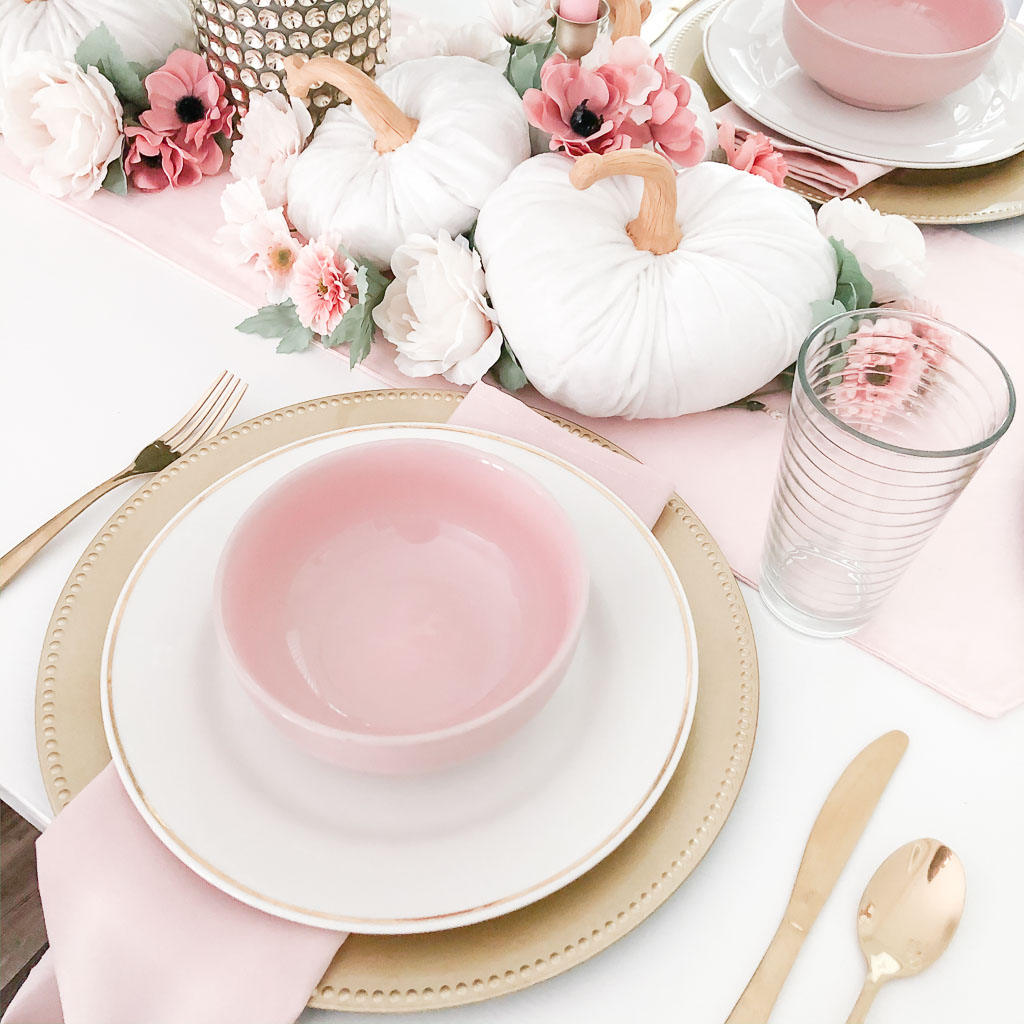 pink and white fall table setting